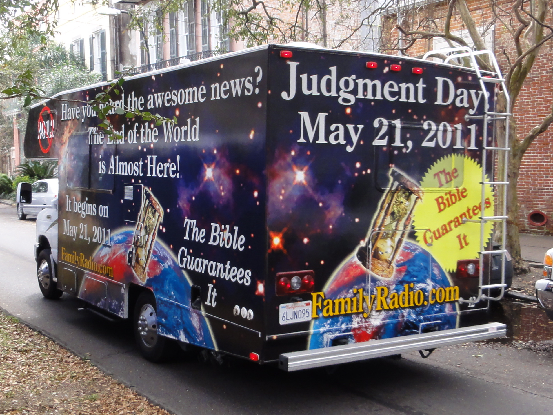 One of Harold Camping's ministry tools to get out the news that the world was ending on May 21st, 2011. By Bart Everson - Flickr: Judgment Bus, CC BY 2.0, https://commons.wikimedia.org/w/index.php?curid=14734037