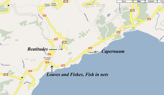 Map showing location of Capernaum