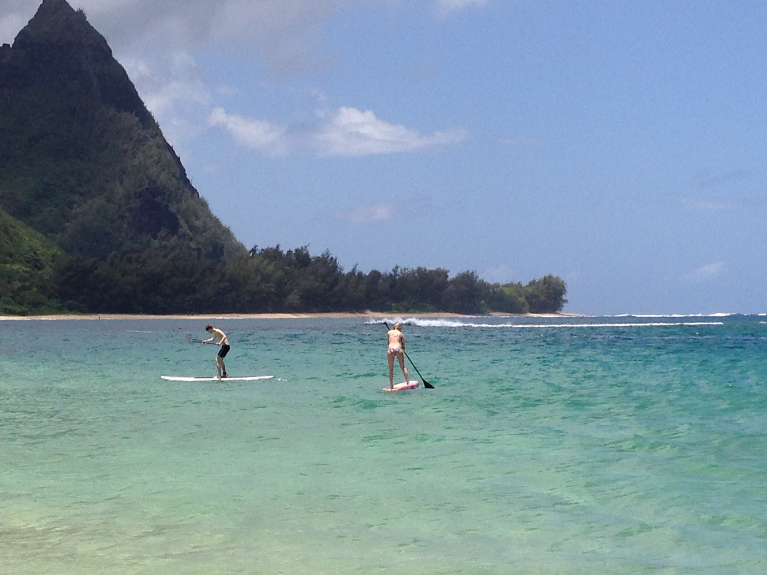 Paddle boarding was popular