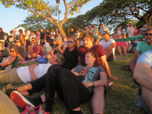Relaxing in the grass before the lantern ceremony