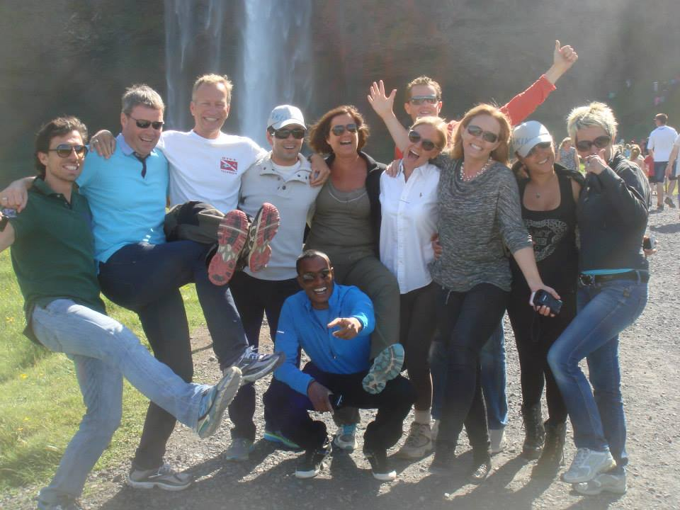 A fun group in front of Seljalandsfoss