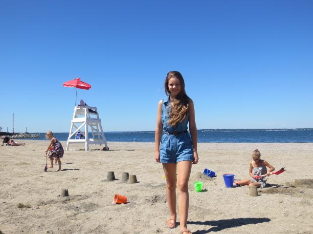 Dora on the beach in Bristol RI