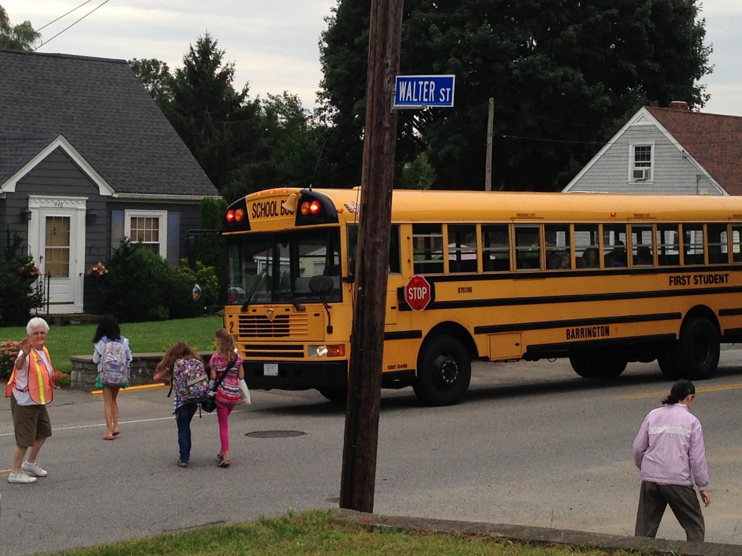 Klara going into the school bus