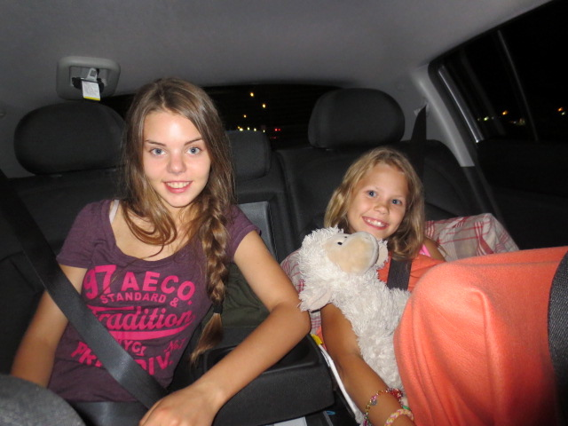 It was a long car trip and young girls took turns being in our car