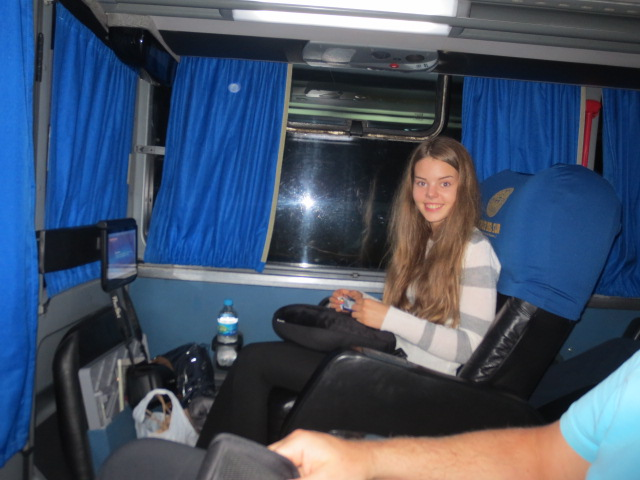 Dora still smiling at the beginning of the trip