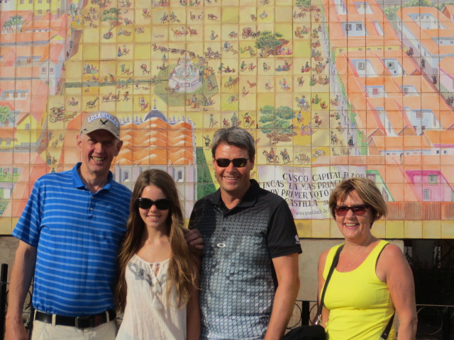 """""""Afi Kiddi"""", Dora, Benni and Ditta in front of a Cusco map on our first excursion"""
