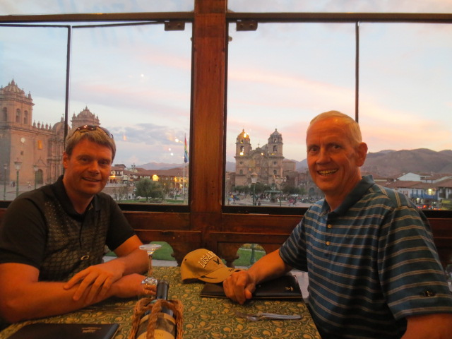 Dinner on the balcony overlooking Plaza de Armas