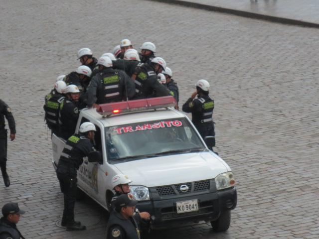 When everything ended peacefully the local police was very happy to be able to leave