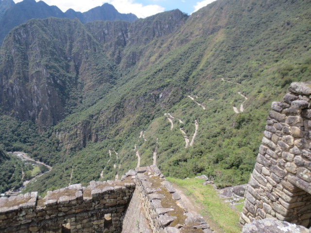 The winding road from Aquas Calientes to Machu Picchu