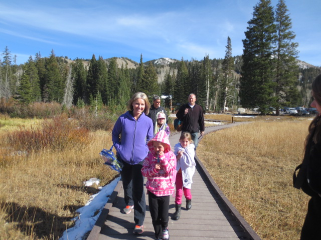Anjanette, Drew and their girls at the start of our hike