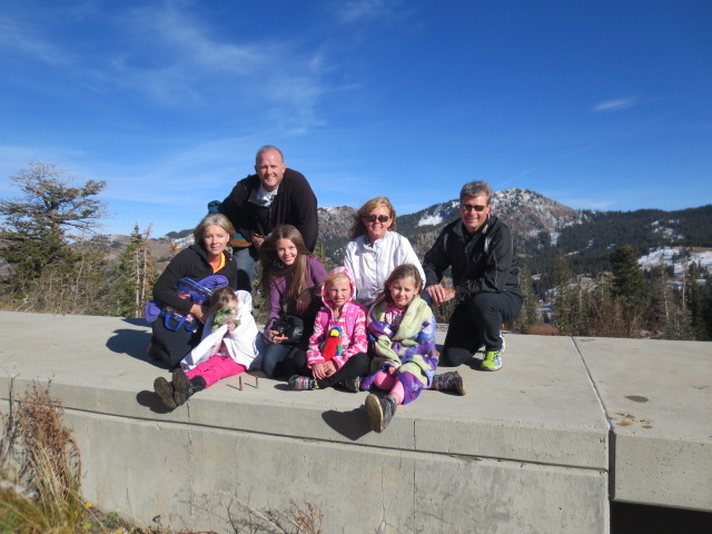 We made it to the top - sitting on a dam in pretty cold wind