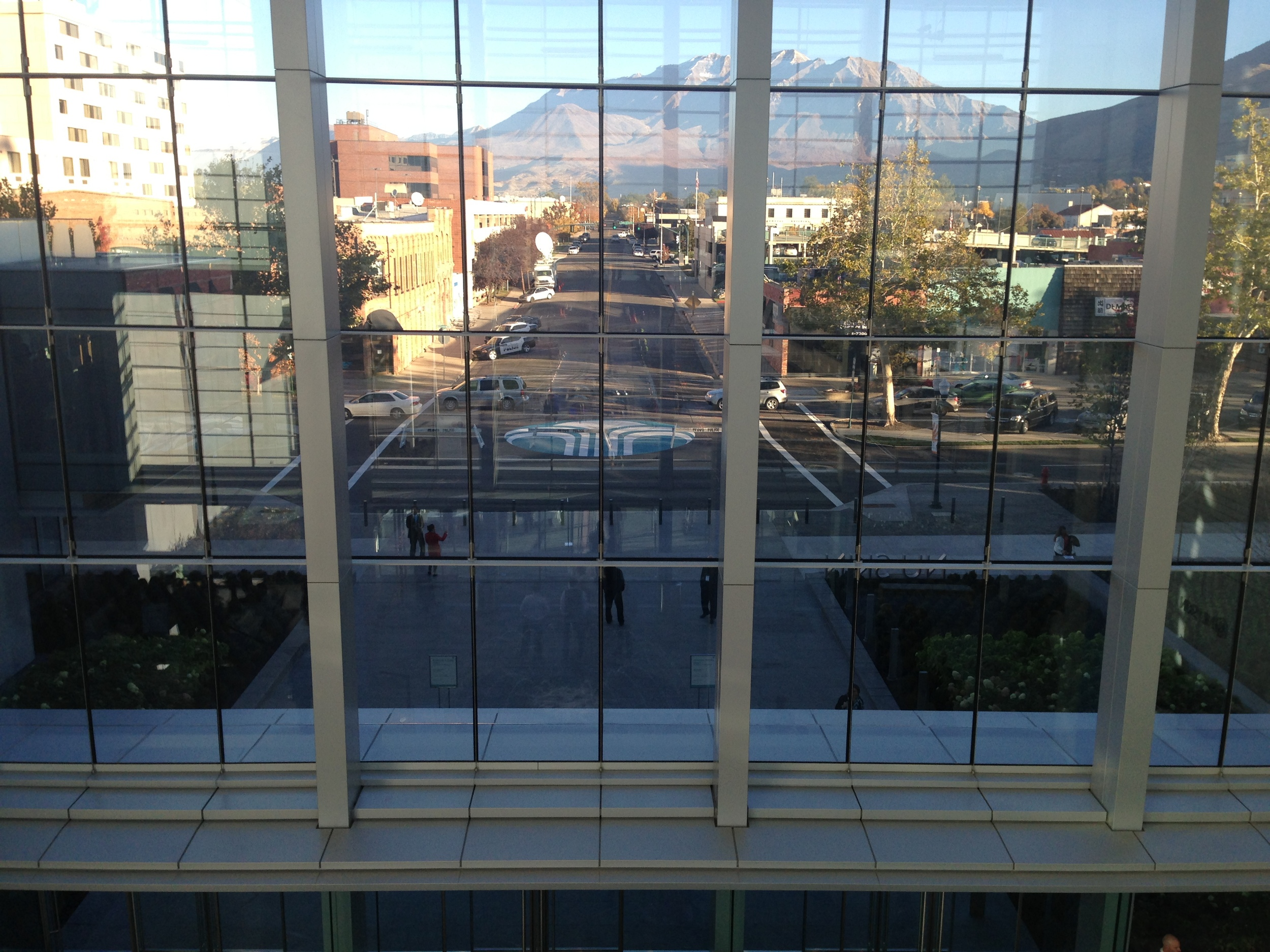 Looking out at the former intersection in front of the new Nu Skin Innovation Center in Provo - Nu Skin bought the street to build on it :-)