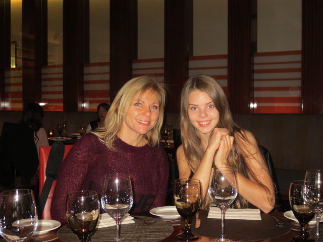 Our first night out.  Anneli and Dora