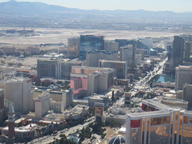 A great view above the Strip, with Bellagio and our Vdara hotel on the right