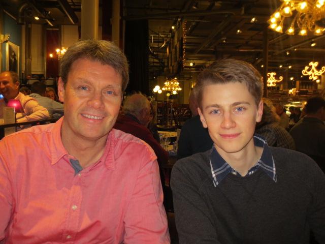 Benedikt and Atli at dinner