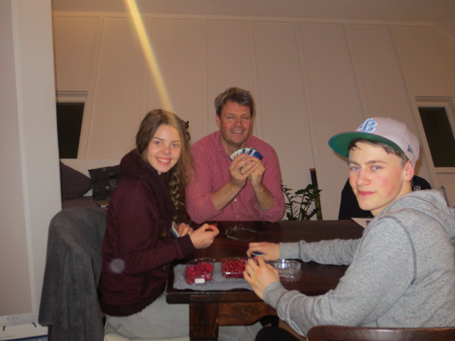 It is a family tradition to play cards or games at Christmas