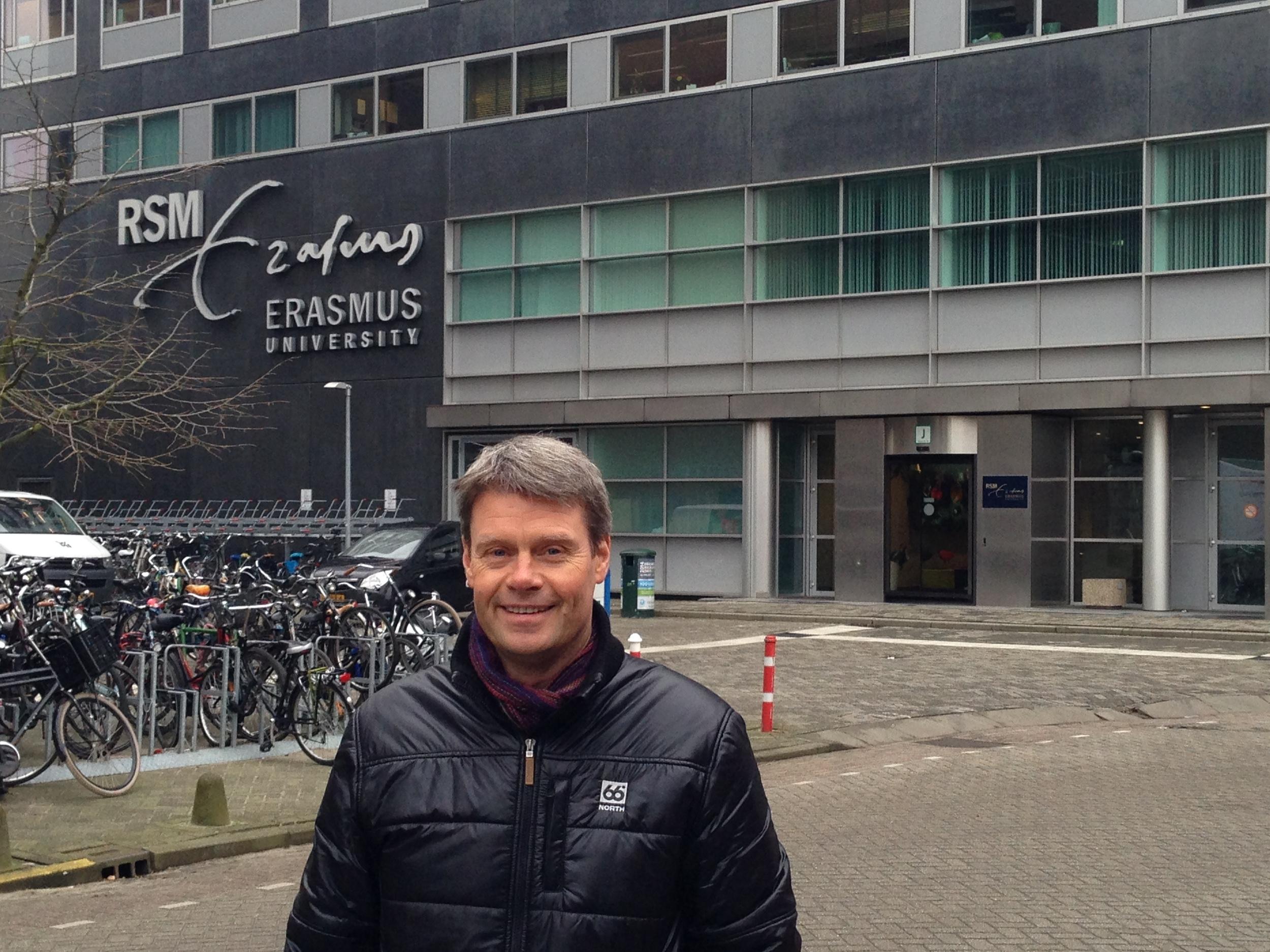 Benedikt in front of his former school, Rotterdam School of Management (RSM)