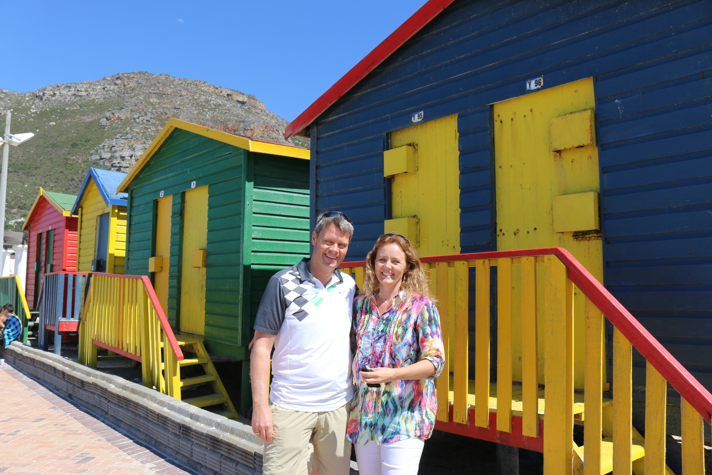 "These little beach houses are so colourful and ""S-African"""