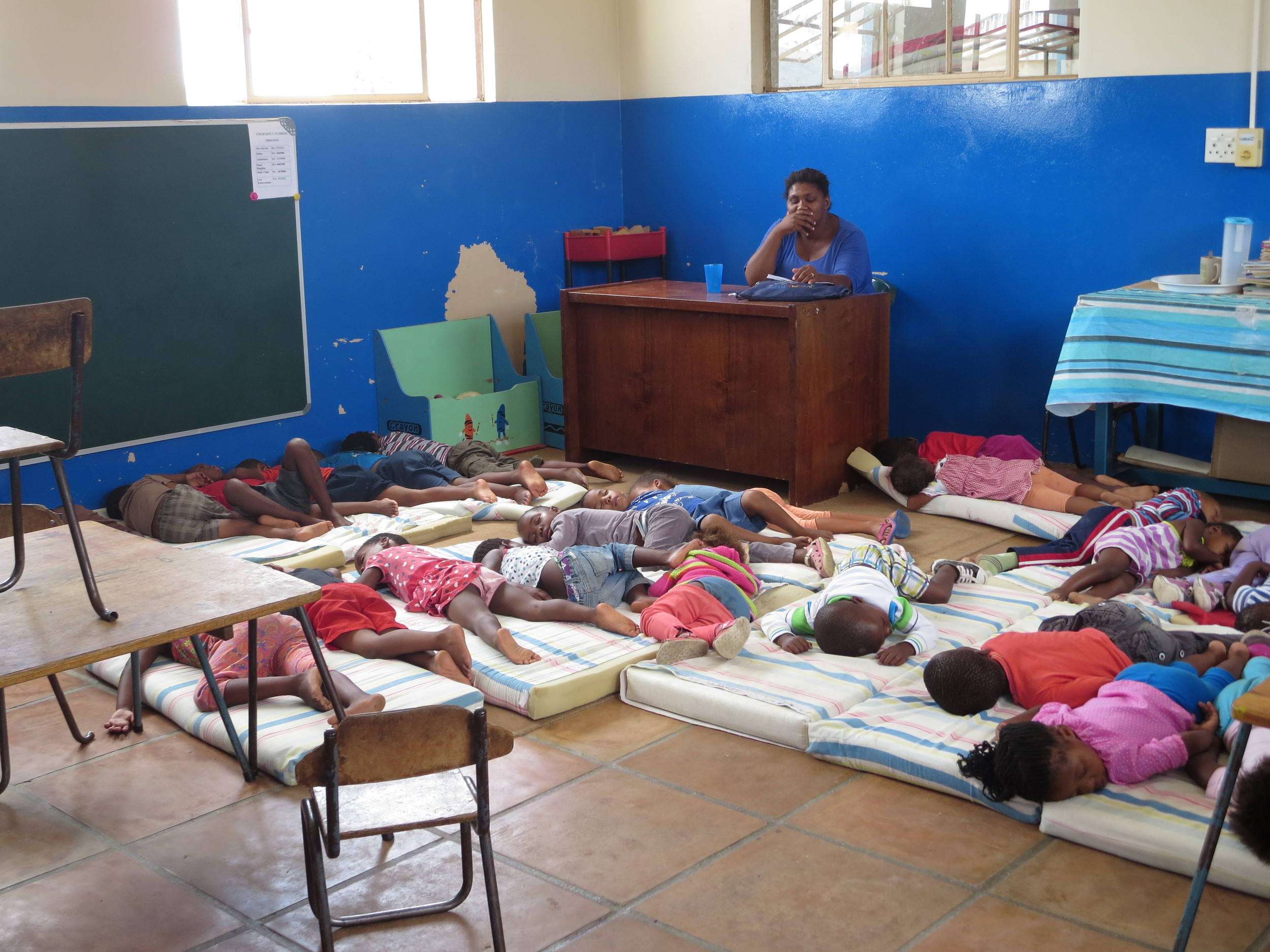 Beside Enza is a kindergarten - the kids were all sleeping when we first came to visit