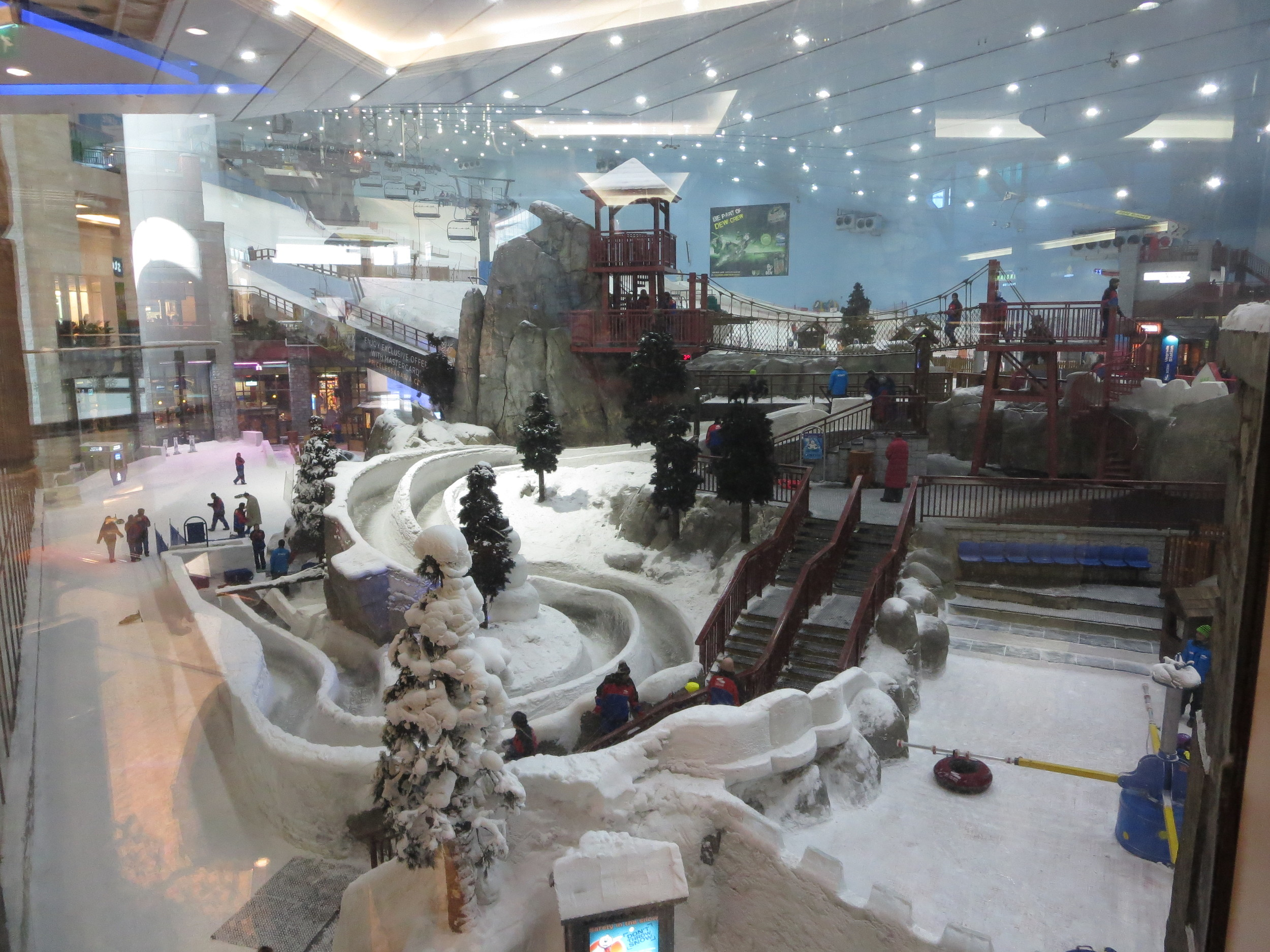 Inside ski area - seen from the streets of a mall
