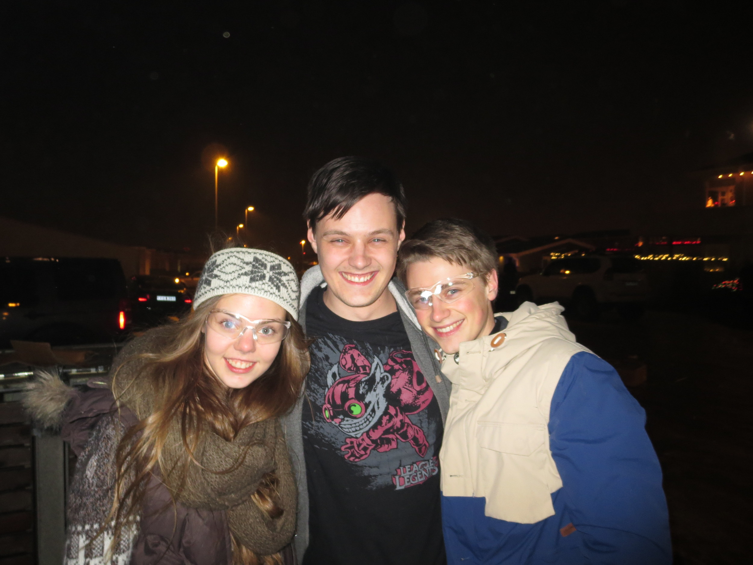 The siblings took time for one photo between fireworks