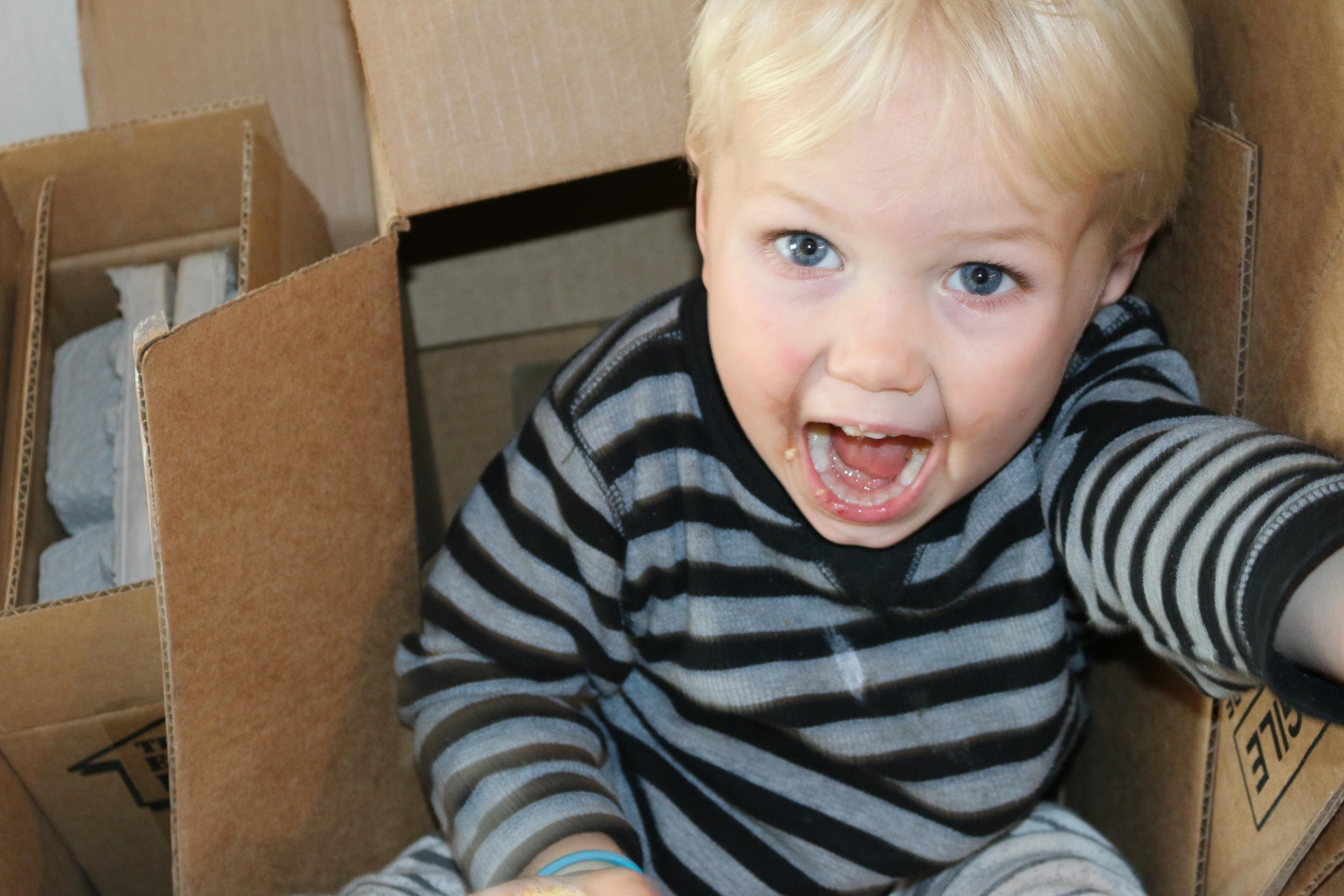 A boy in a box!