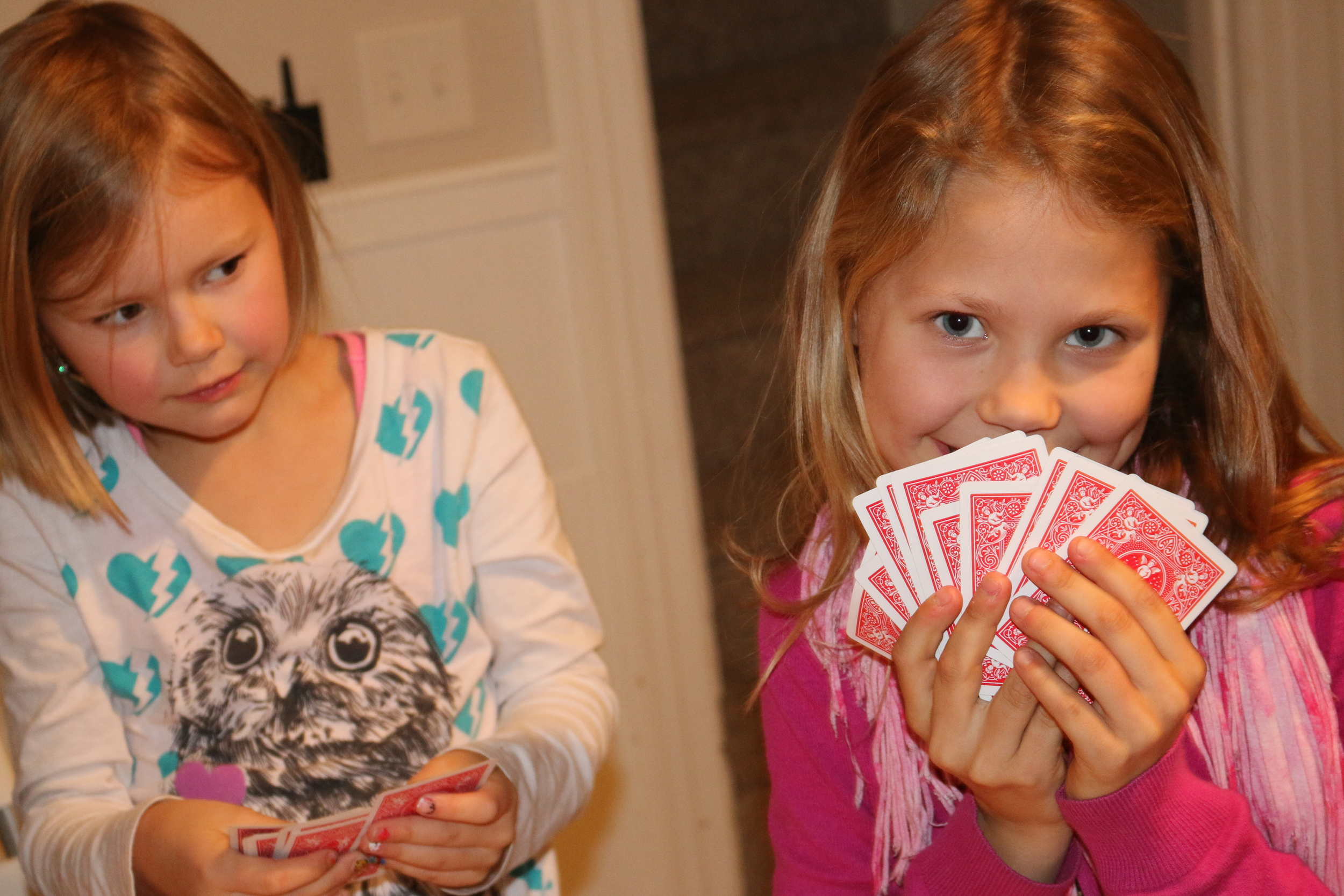 When it is this cold it is good to play cards inside