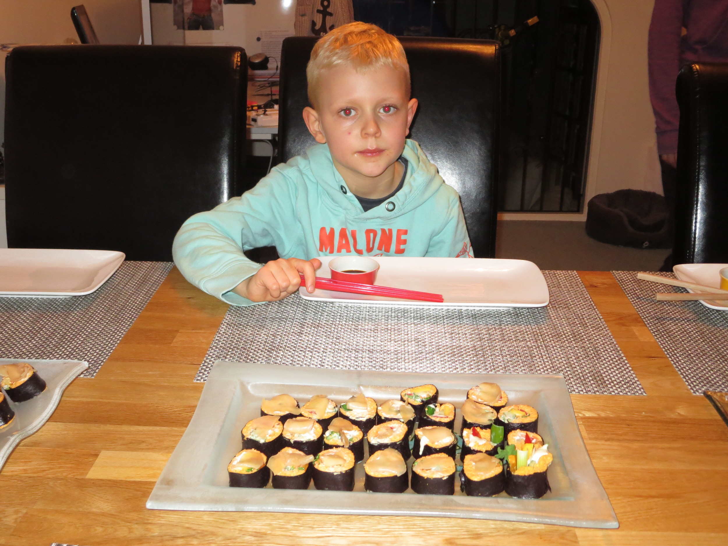 Anthony lives in England and here he is ready for some of his mom´s raw sushi