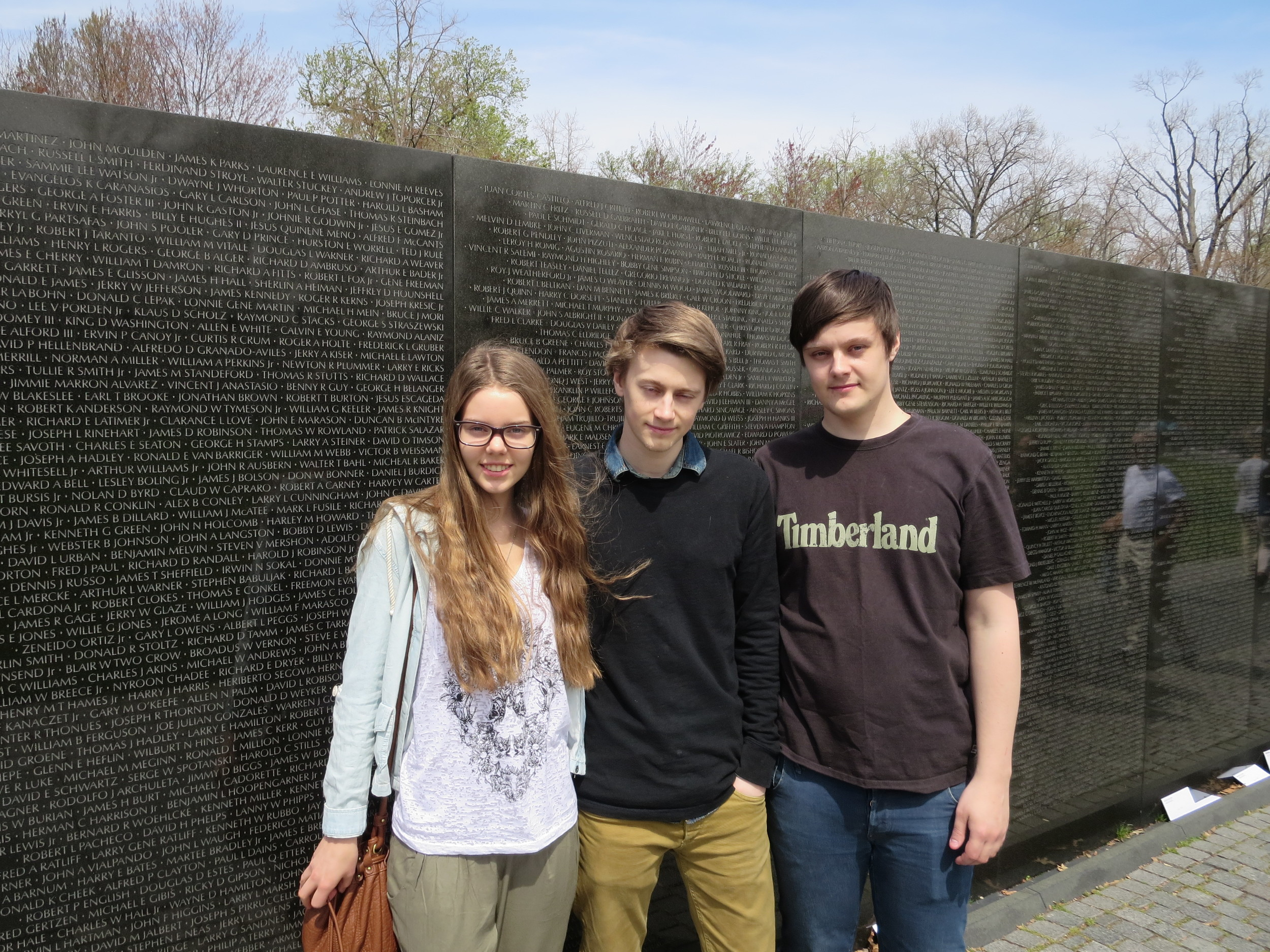 By the Vietnam Memorial Wall - really depressing to see all the endless rows of names