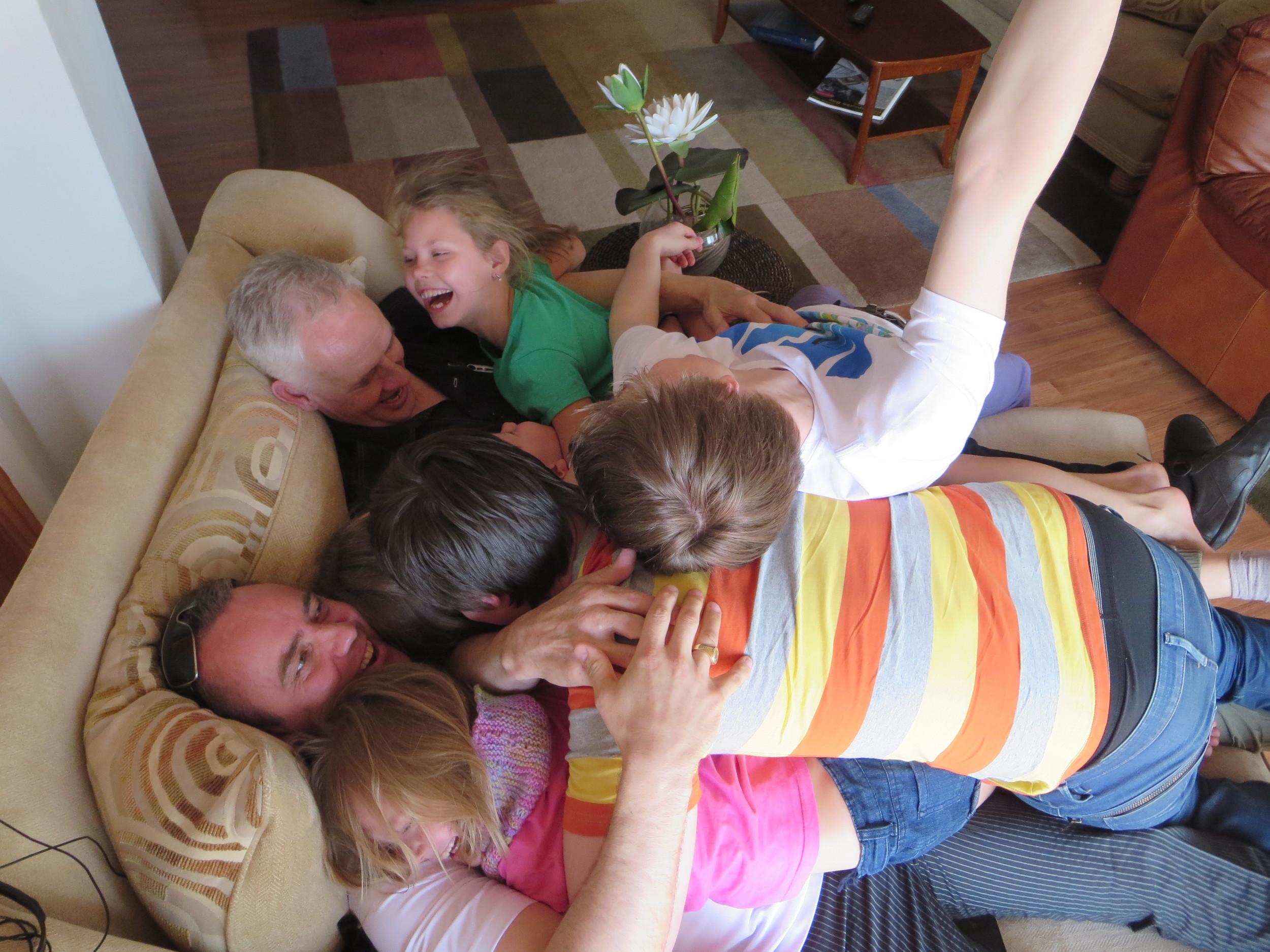 Having fun with grandpa and Kristjan (Gudrun´s brother)