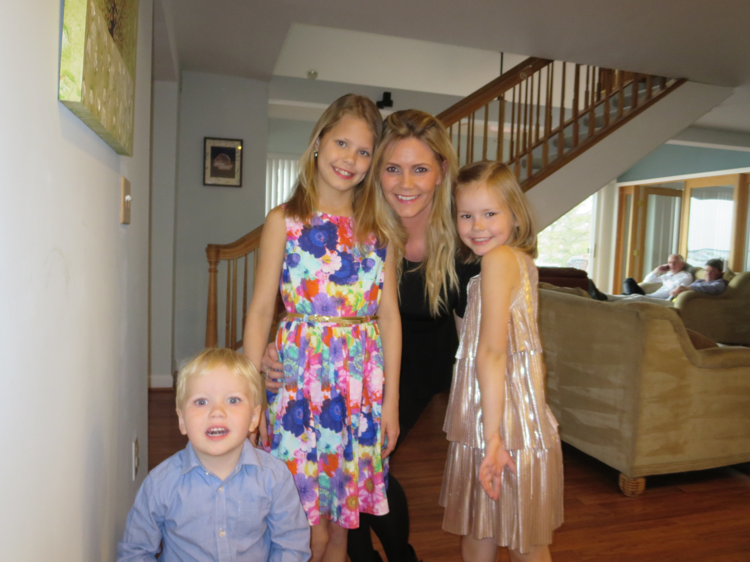 Lilja with her kids - ready to party