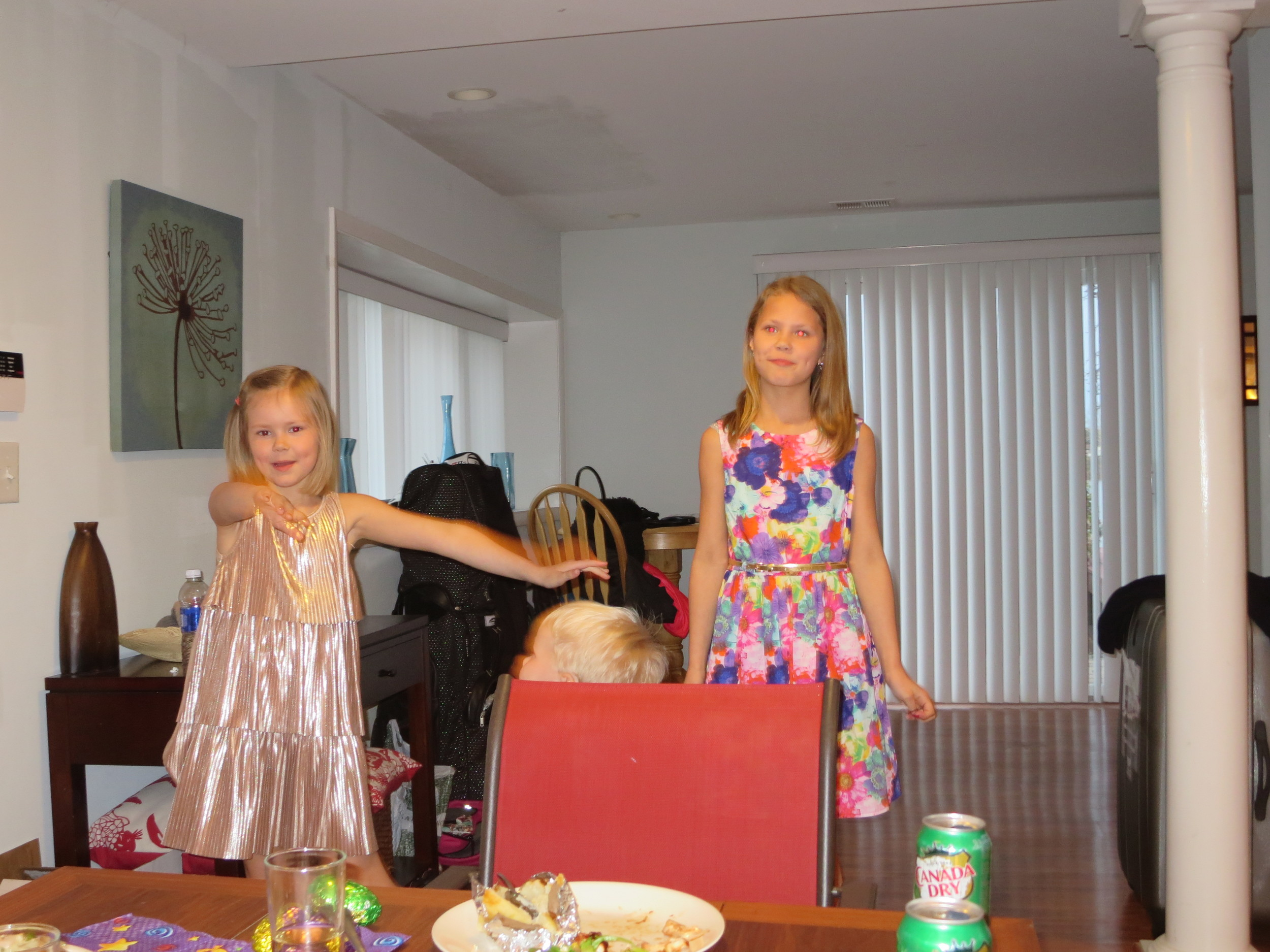 Klara and Kristjana had prepared songs for their grandfather - really well done!