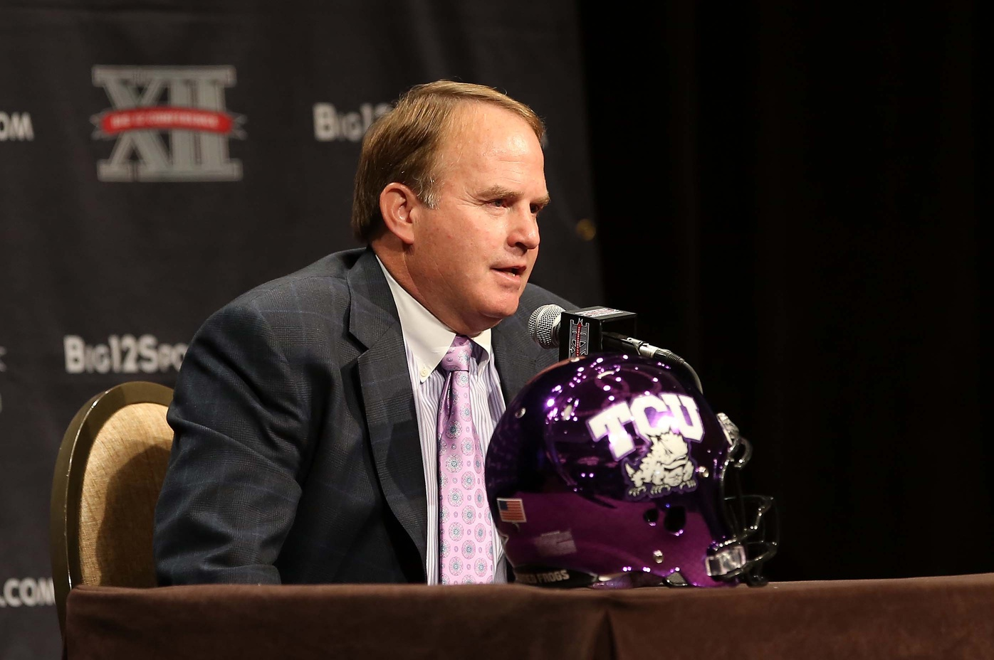 The TCU helmet is one of the best in college football, matching the team wearing it. (Image courtesy: USA Today Sports)