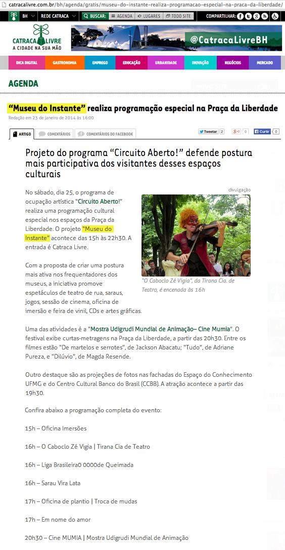 Site Catraca Livre, 23 de janeiro de 2014