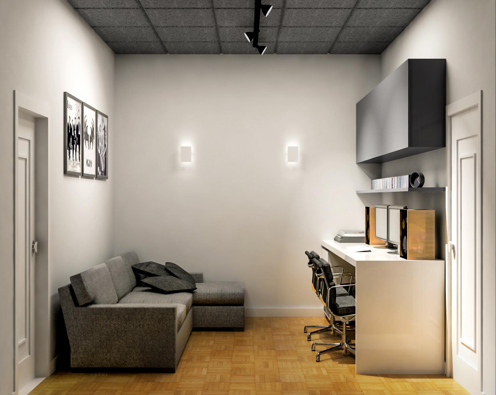Home estúdio com isolamento acústico.