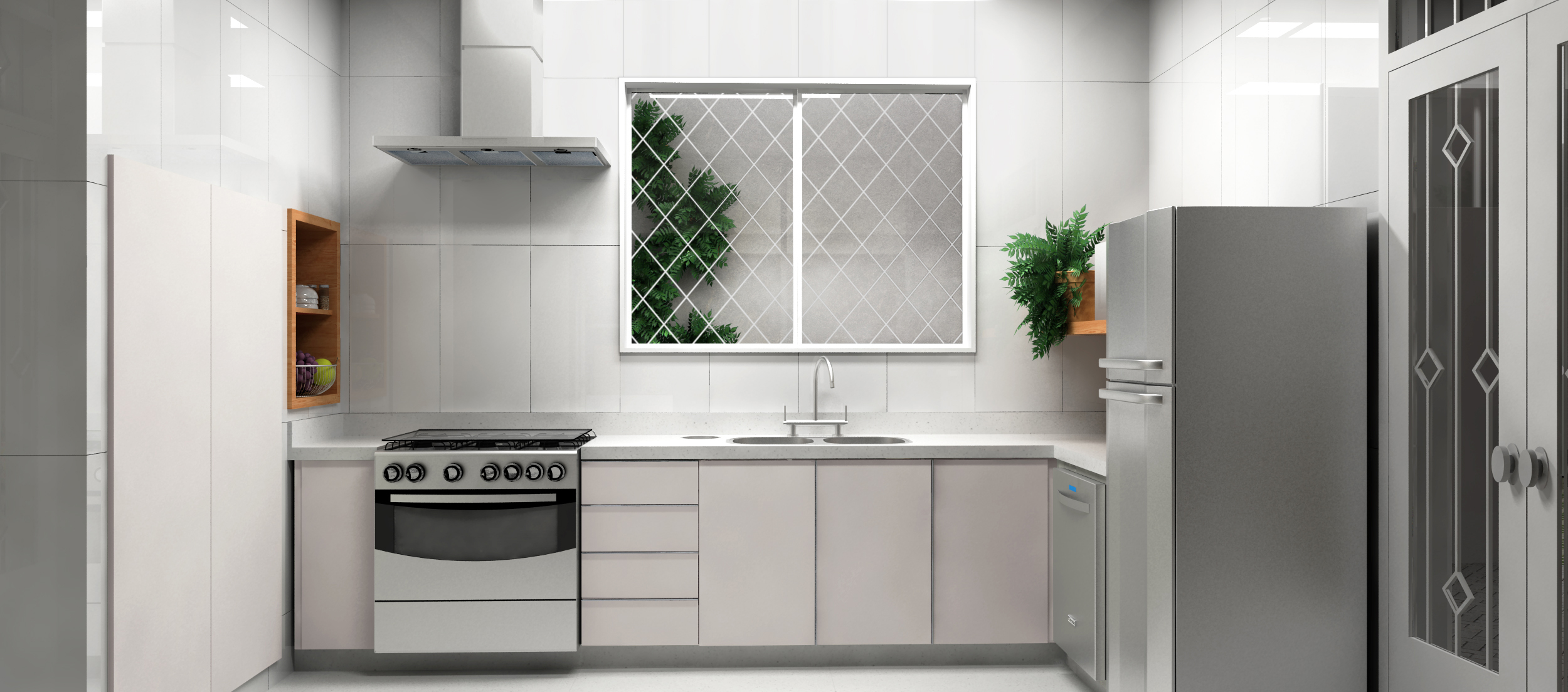 Cozinha ampliada com revestimento em porcelanato branco, armários claros, prateleiras e nichos em madeira e eletrodomésticos em inox.