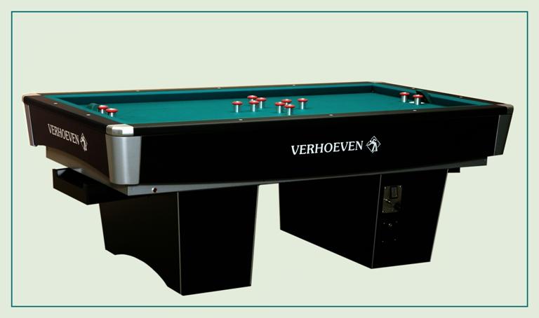 Golfbiljart merk VERHOEVEN model Black Magic. Top kwaliteit competitie biljart - 45mm 1dlg leiplaat - verwarming elektronisch + isolatie - muntiworp. prijs  € 4.995  incl. BTW.
