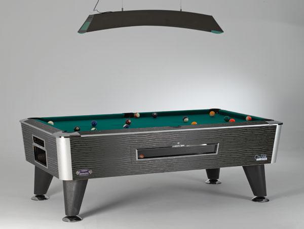 SAM Pool BISON  , de meest geplaatste Pool in cafés, elektronische muntinworp zowel per spel of per tijdeenheid. Diverse kleuren kast maar  altijd groen laken  - Prijs 6 & 7ft =  € 2.675  incl. BTW 8ft =  € 2.950  incl. BTW, toebehoren inbegrepen.