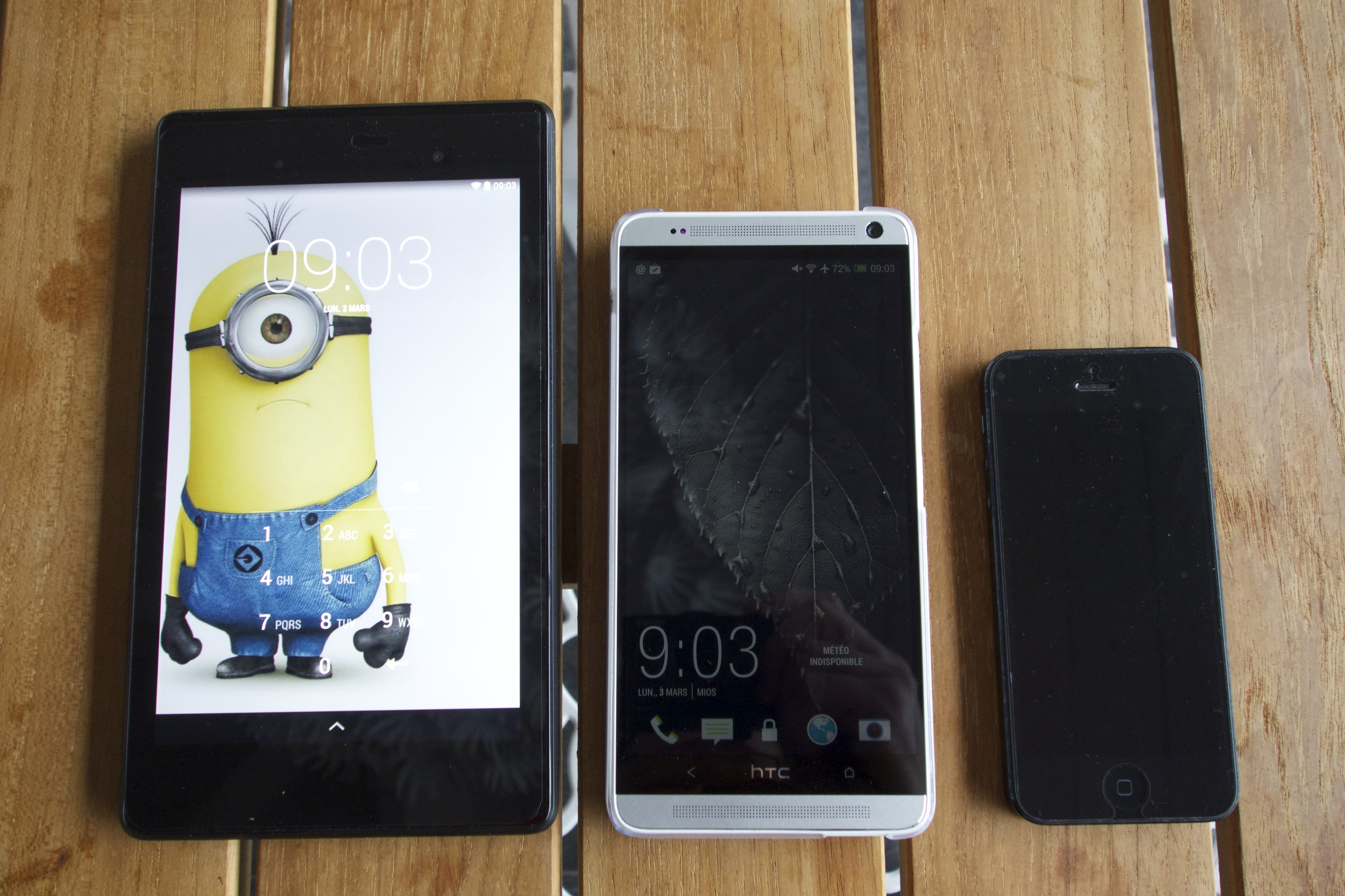 Nexus 7 2013 , HTC One Max , Mon iphone 5