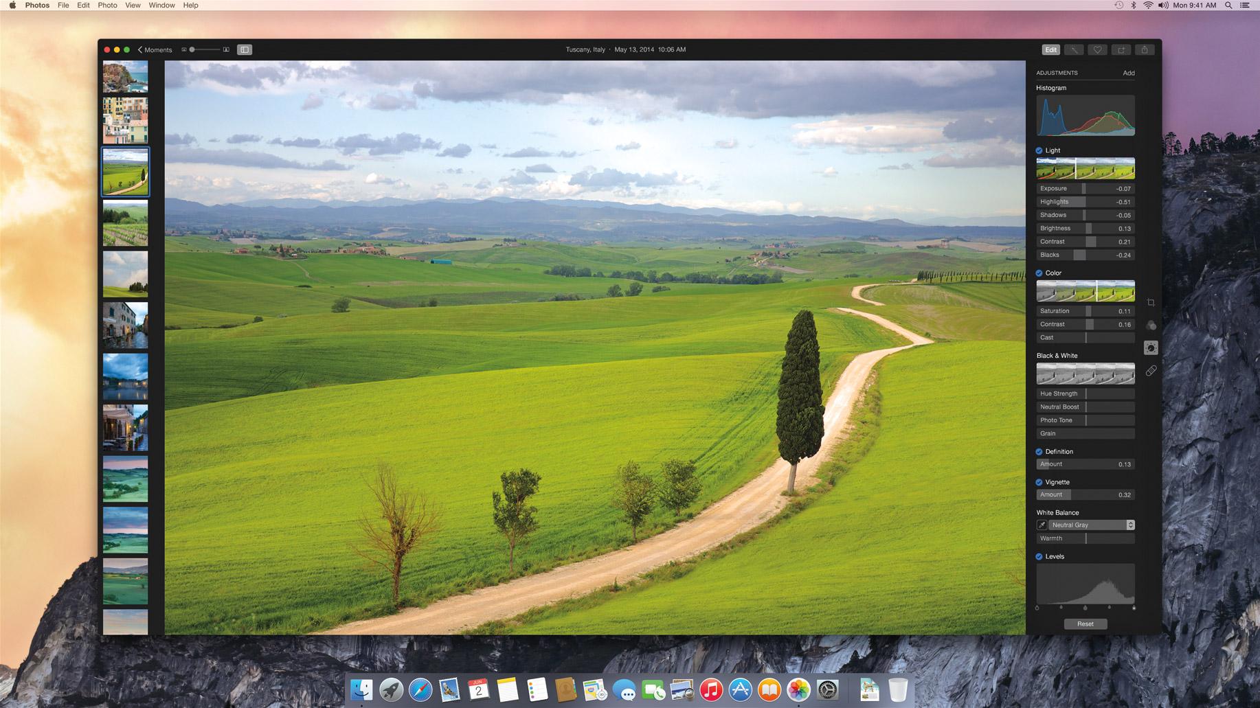 L'une des rares copies d'écran de l'application Photos qui sera compatible uniquement avec le futur OS X Yosemite.
