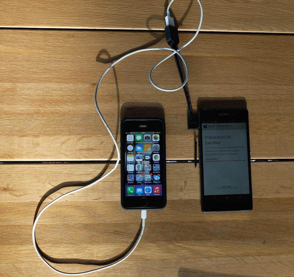 transfert de donnée de l'iPhone 5 vers l'Xperia Z2