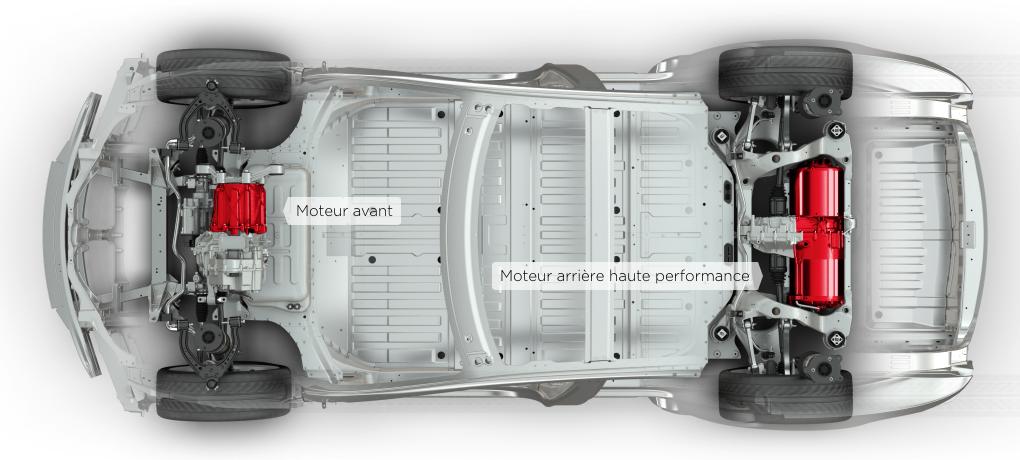 La Model S P85D est le modèle le plus puissant actuellement vendu par Tesla, elle dispose de 3 moteurs et de 4 roues motrices.