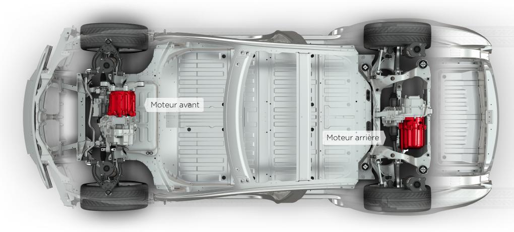 La version 85D : également deux moteurs, mais cette fois un à l'avant et un à l'arrière permettant à la voiture de disposer de 4 roues motrices