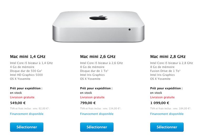 Le Mac Mini débute désormais à 549€