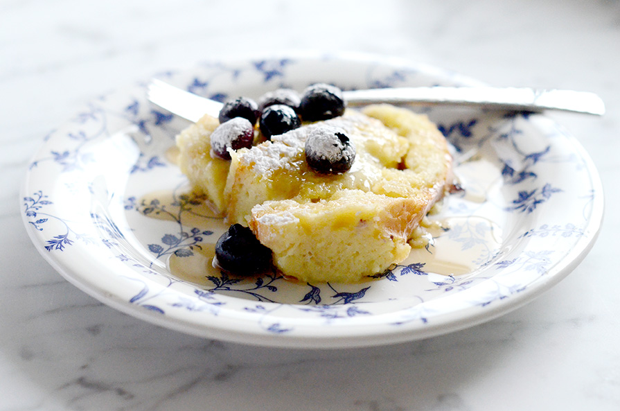 Blueberry French Toast Soufflé Recipe via Kiki & Co.