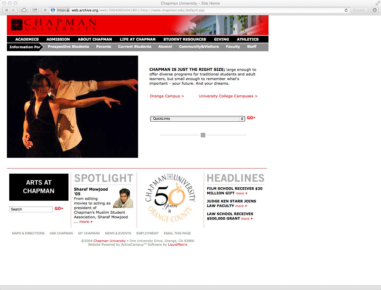 Chapman homepage, 2003
