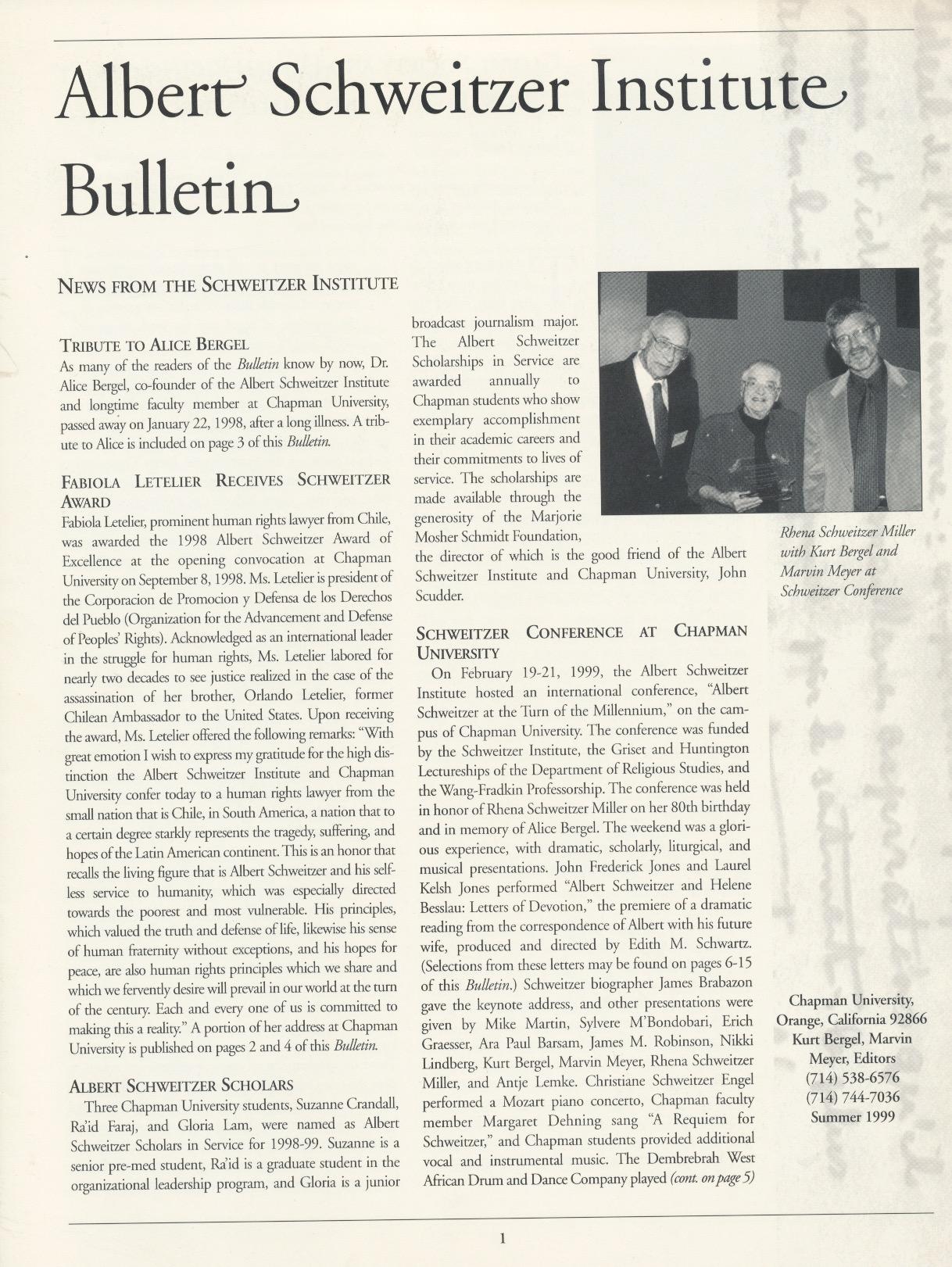 Schweitzer bulletin