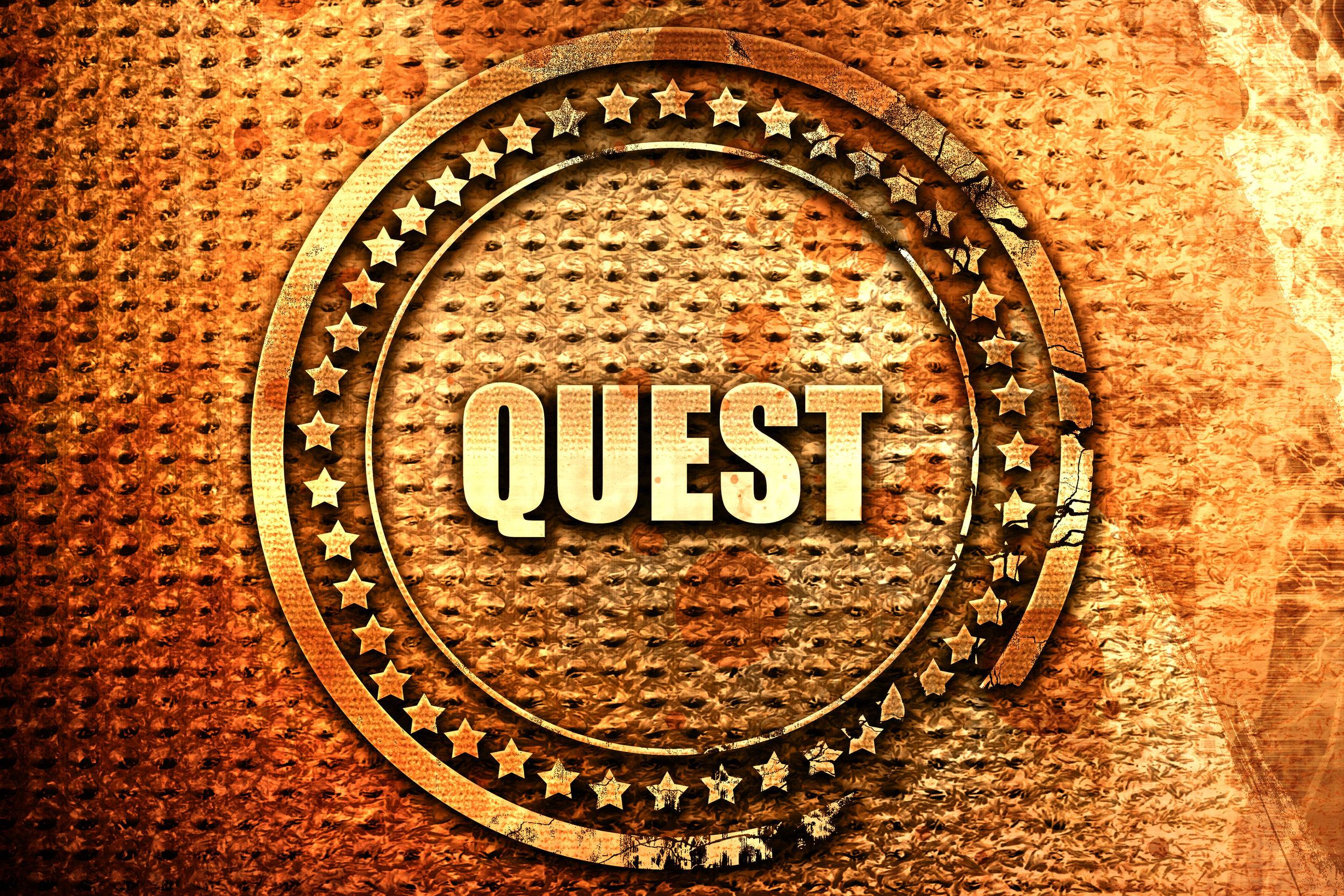 quest, 3D rendering, text on metal