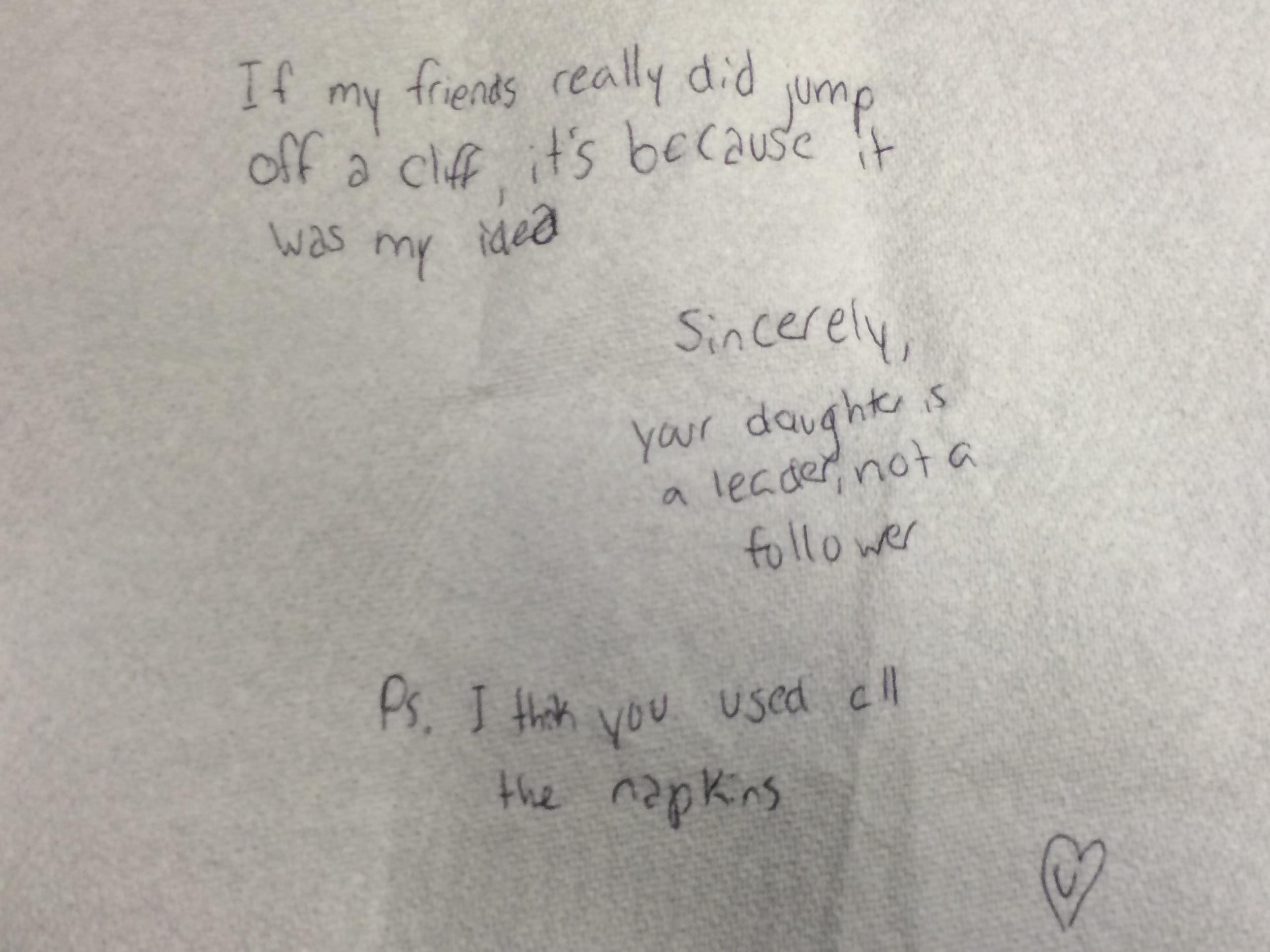 Emma's Napkin Note to Dad