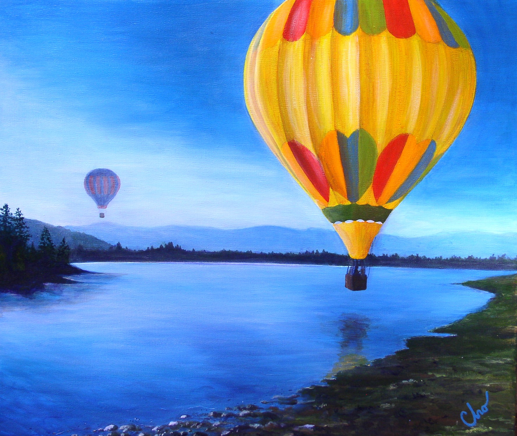 Balloons at Prosser Lake CA--22x24  Aug 2010